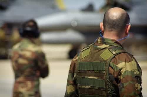 Soldier Wearing 3M Earplugs Stock Photo