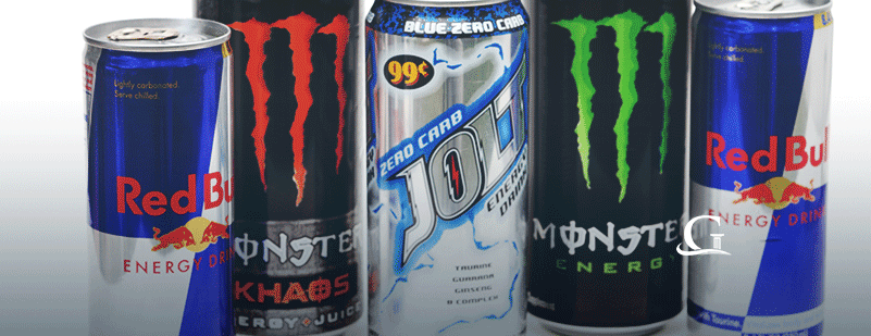Line Of Energy Drinks Stock Photo