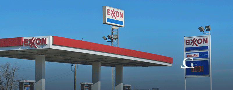 Exterior Of Exxon Gas Station Stock Photo