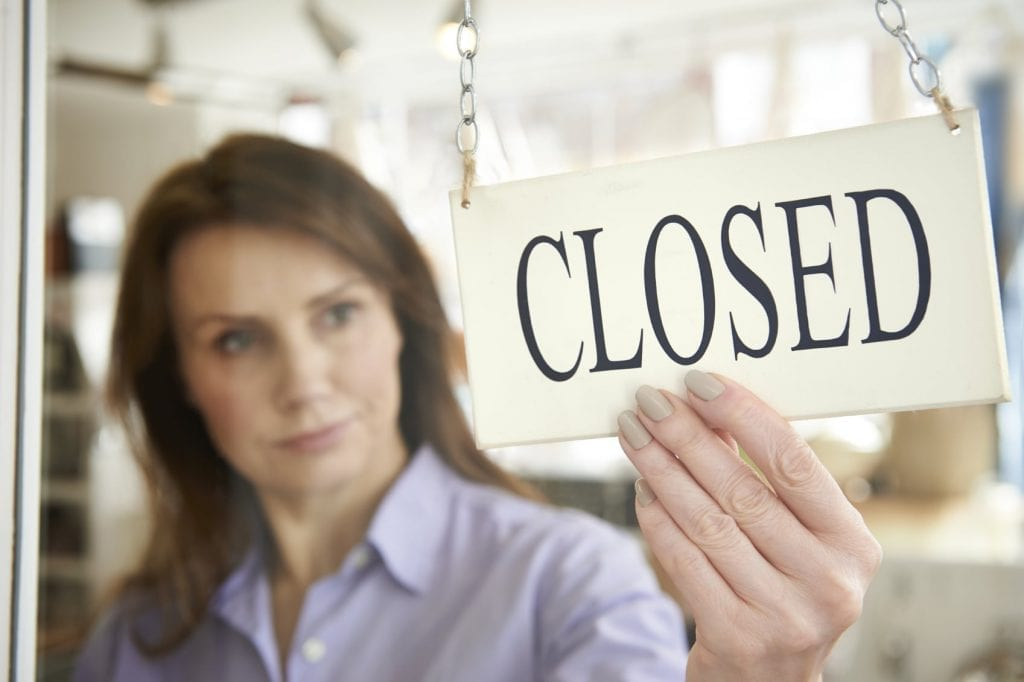 Closed For Business Sign Stock Photo