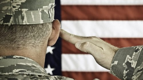 oldier Saluting The American Flag Stock Photo