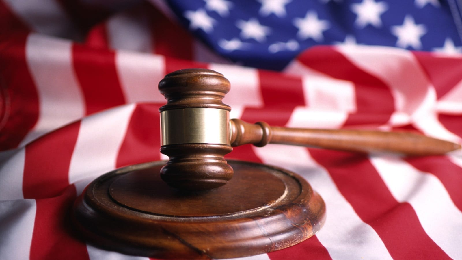 Gavel and American Flag Stock Photo