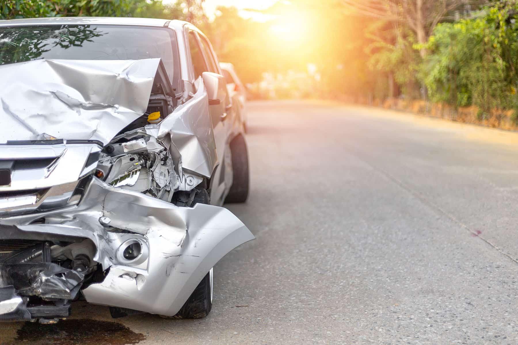 Car Damaged After A Phoenix, Arizona Car Accident