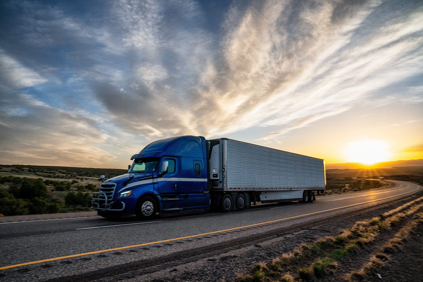 Commercial truck driving near Phoenix, AZ